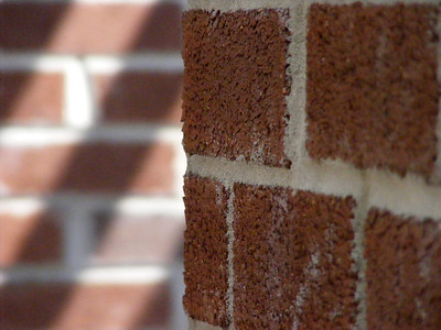 Short depth of field on bricks contrasting with the other set of blurry bricks in the background.