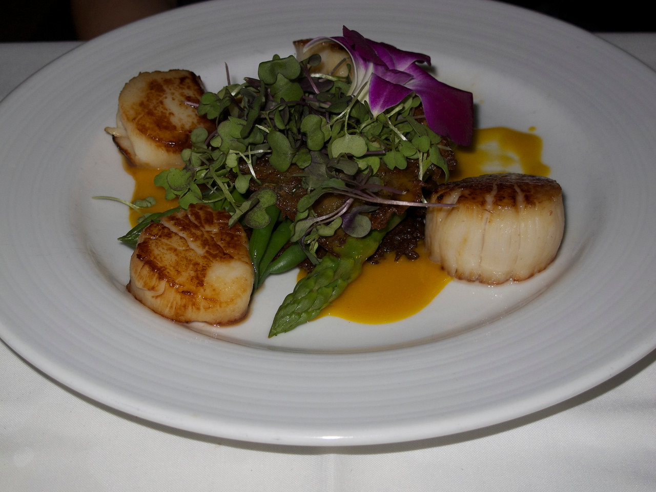The scallops were excellent at the Rooftop Cafe.