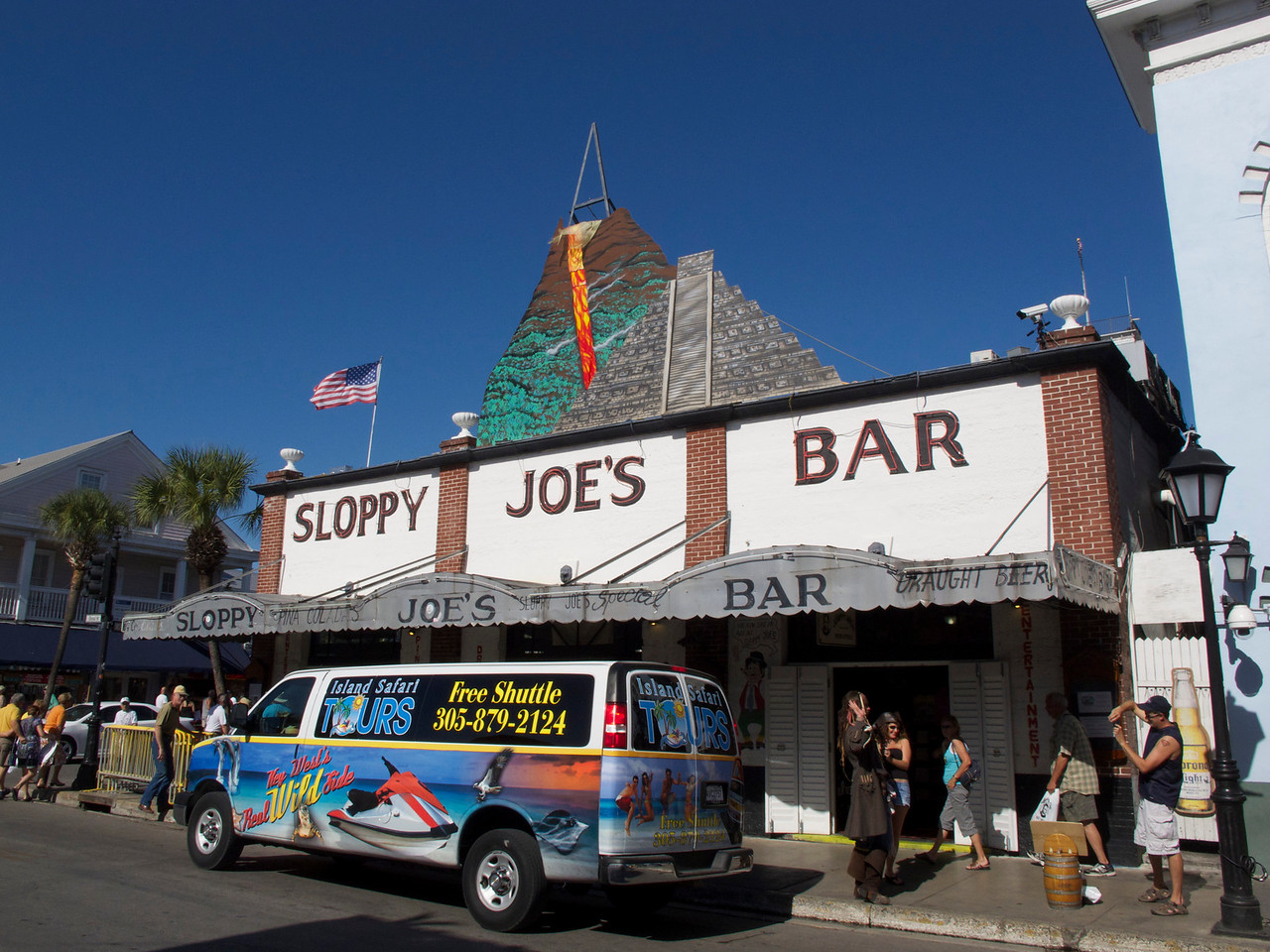 "The famous Sloppy Joe's Bar outgrew its original location and moved here, resulting in to bars known as Sloppy Joe's. It has various web cams here: <a href=""http://sloppyjoes.com/index.php/cam_lp/"">http://sloppyjoes.com/index.php/cam_lp/</a><br /> and if you have a cell phone, you can have your friends alert you to when you're on view on the street cam.<br /> <br /> In the original location, the late Capt. Tony has a bar where Ernest Hemingway actually drank. Sloppy Joe moved the bar in 1937. Capt. Tony's has a website here: <a href=""http://www.capttonyssaloon.com"">http://www.capttonyssaloon.com</a><br /> <br /> There are lots of stories about the original location: it was a morgue, and the coroner buried his daughter there, where she remains to this day, ghosts, and naked people."