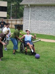 Kickball with Kingwood Park HS Students