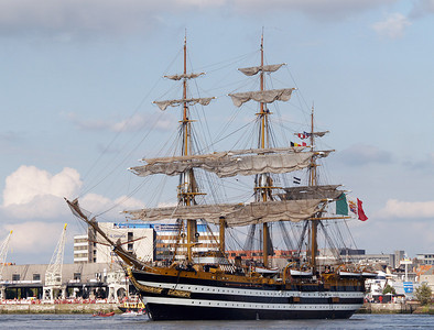 "The Portuguese tall ship ""Amerigo Vespuci""  in the harbor of Antwerp, Belgium on August 22, 2006 during the Tall Ships Parade."