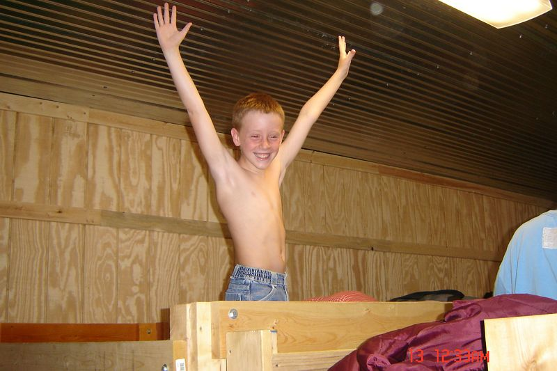 First day of camp...Carter scored a top bunk!