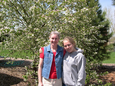 Mom and I: by our blooming crab apple tree