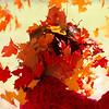 Girl Throws Fall Foliage