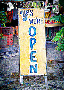 Yes, We're Open (color) by Carlagraphs-