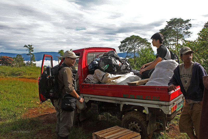 After the plane ride we took a van for three hours then this tiny pickup brought us further along the muddy trail.