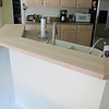 There are 28 pieces of cherry glued together to make this bar counter, without a single nail or fastener.