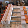 The strips are then glued back together with alternating grain direction for more strength.