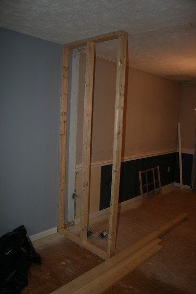 slow day today (day 3 of renovation)... put in the beginning of the small wall between living room and dining room