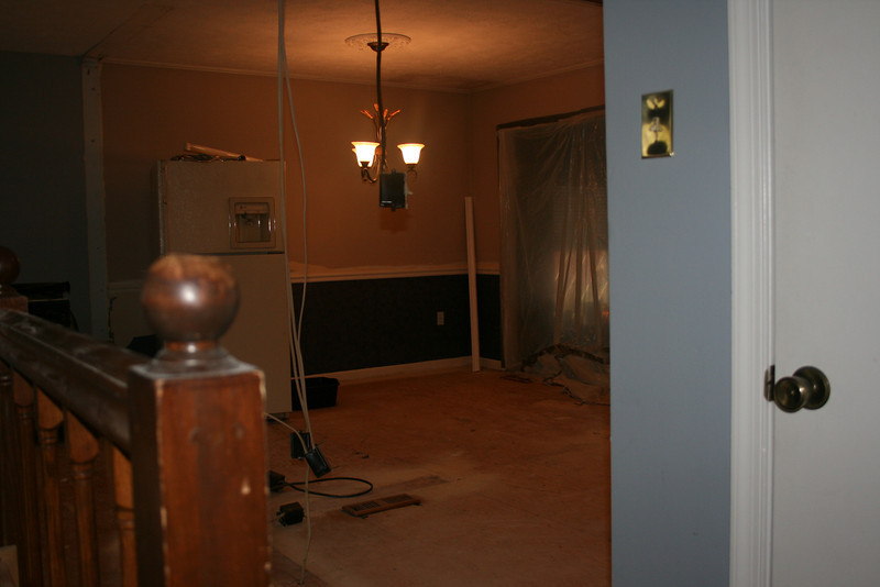 looking from the steps/hall closet into dining area
