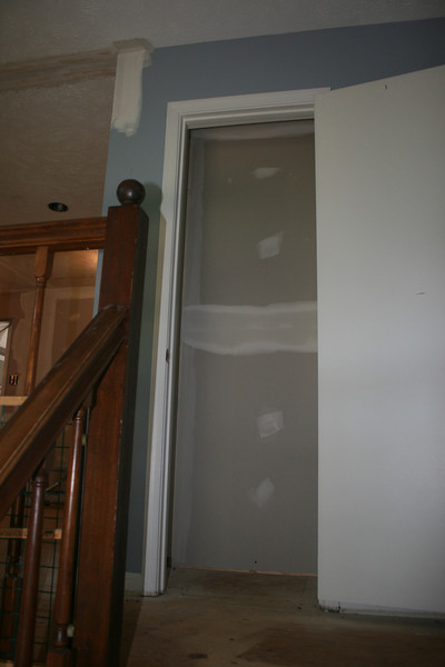 mud/tape to hall closet
