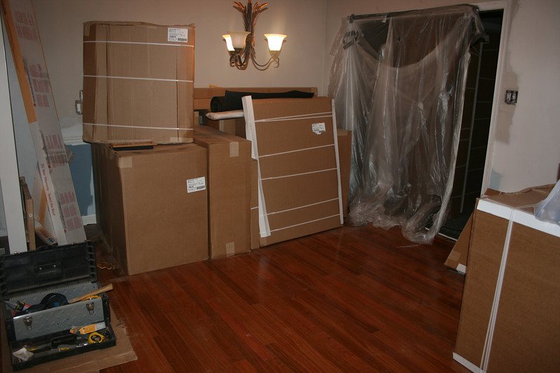 up close to dining room, boxes are the added touch, that might be gone tomorrow :)