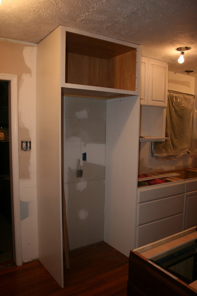 hole for frig and cabinet over top :)