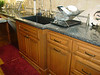 Alder cabinets with protruding fluted sink