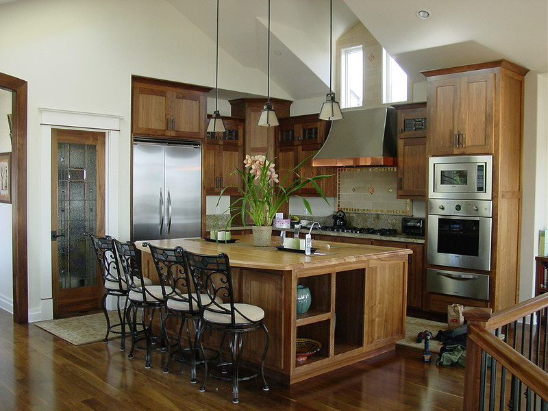 Black walnut kitchen and island with maple top