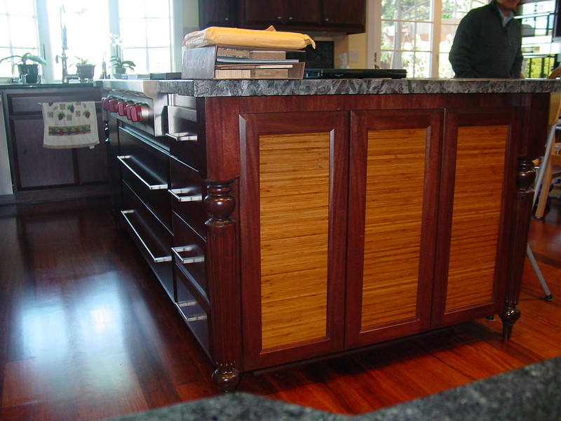 African Mahogany Island with furniture Legs and  Plyboo Panels