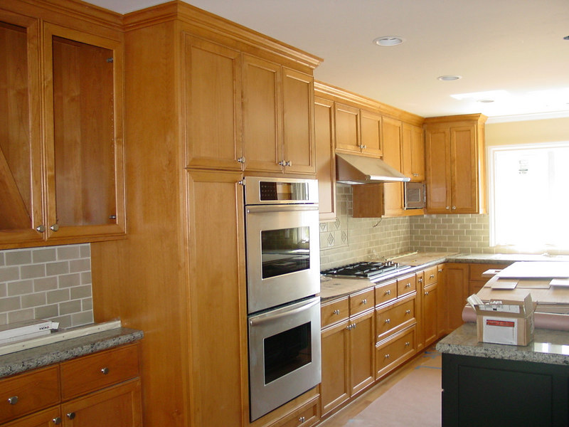 Alder Cabinets with Inset Panel Door and light Stain
