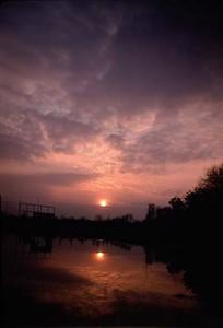 sunset on puddle, abingdon
