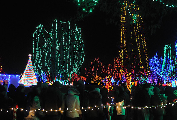Pat Christman<br /> Sibley Park is awash in lights after the Kiwanis Holiday Lights were turned on Friday for the first time this year.