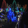 Pat Christman<br /> Visitors look at decorated trees at the Kiwanis Holiday Lights display Friday.