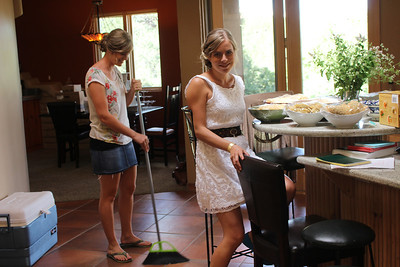Aunika sweeping before the festivities begin.