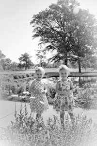 Girls at Jewel Box Standing in Flowers BW-