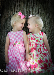 Girls Holding Hands in Front of Tree-2