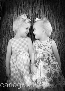 Girls Holding Hands in Front of Tree BW-2