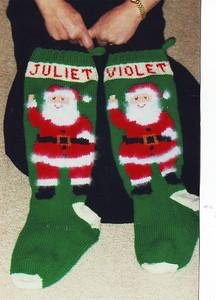 Close-up of Christmas stocking.