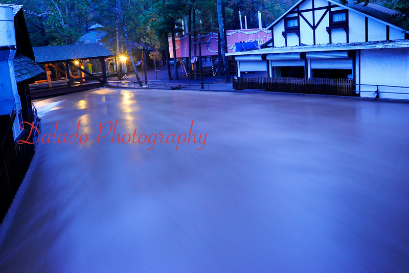 Water from the south branch of Roaring Creek flows into Knoebels Amusement Resort around 6 a.m. on Sept. 29, 2011.