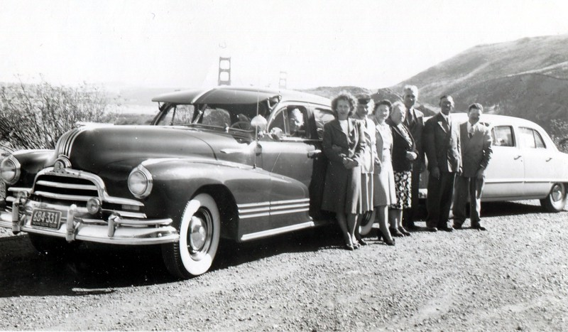 "Maybelle Knops Johnson  --  Harry Johnson  --  Anna  --  Ed  --  ??.<br /> <br /> Back of original is stamped as processed ""Oct 8, 1948"".<br /> <br /> Golden Gate Bridge in the background.<br /> <br /> <br /> With any photo, add a comment or question in the lower left, or email me at ds329ds@hotmail.com . Also, contact me if you have a photo to share."
