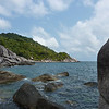 East coast of Ko Tao; the water is much rougher than on the west side, but it's still super clear.