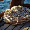 Rope coiled and ready for the skiff's return