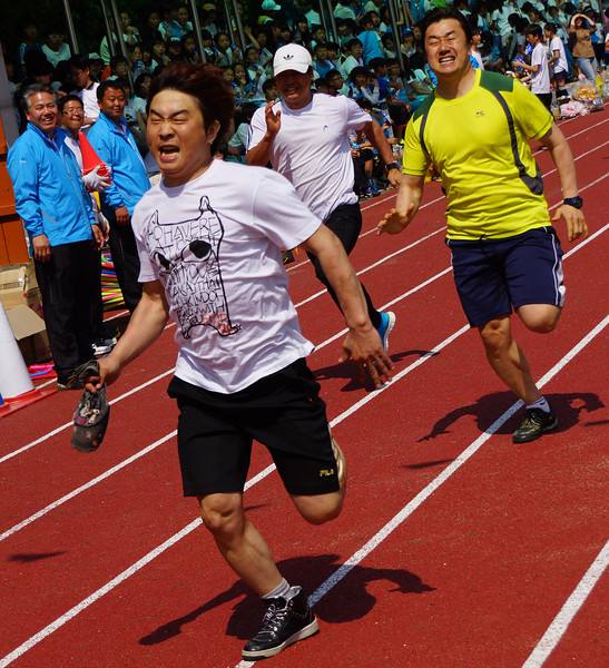 Korean parents enjoy an intense race.