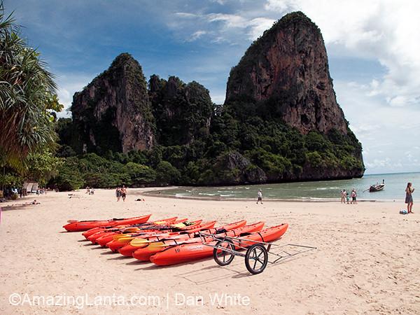 Kayaks on Phra Nang aka Cave Beach, Krabi, Thailand.