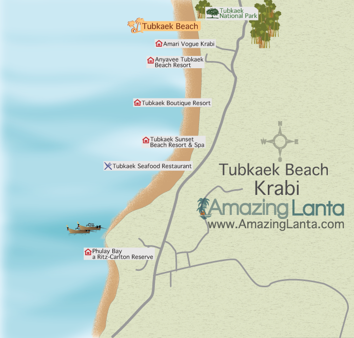 Tubkaek Beach map Koh Lanta