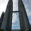 Petronas Towers from outside, in their entirety.  We stood on the horizontal bridge in the middle looking up and down.