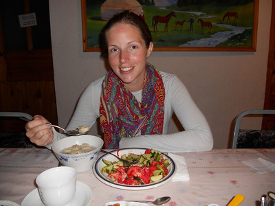 We arrive in Karakol at the far end of the lake and get a freshly cooked meal at the homestay.