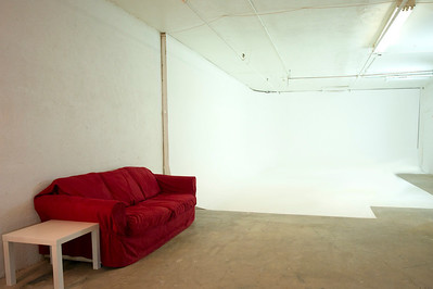 Lounge and white cyclorama wall