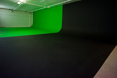 Green and black cyclorama walls