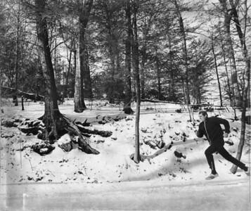 Sen. Louis Hill jog in Valley Green in Fairmount Park. Published Feb. 17, 1975. By William F. Steinmetz, Inquirer Staff Photographer