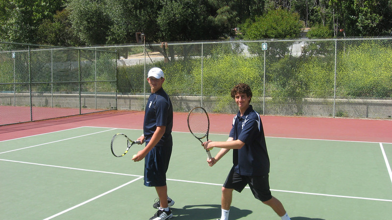 Anthony B and Nick M are ready to  take on Crespi at VT courts on Thursday, April 14th, 2011