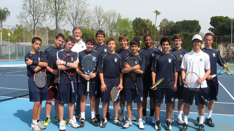 LHS JV Tennis team pose for pix before match versus Notre Dame HS in Sherman Oaks. Result: 18-0 win.
