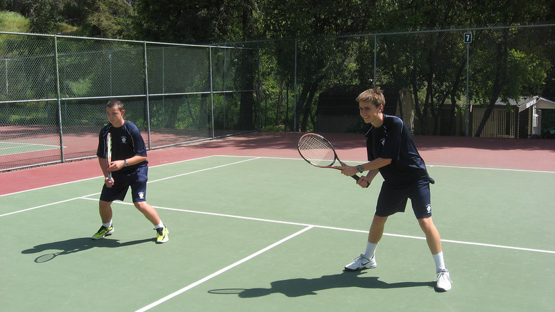 Nick H and Griffin C are really to pounce in doubles competition before Crespi match, 4/14/2011