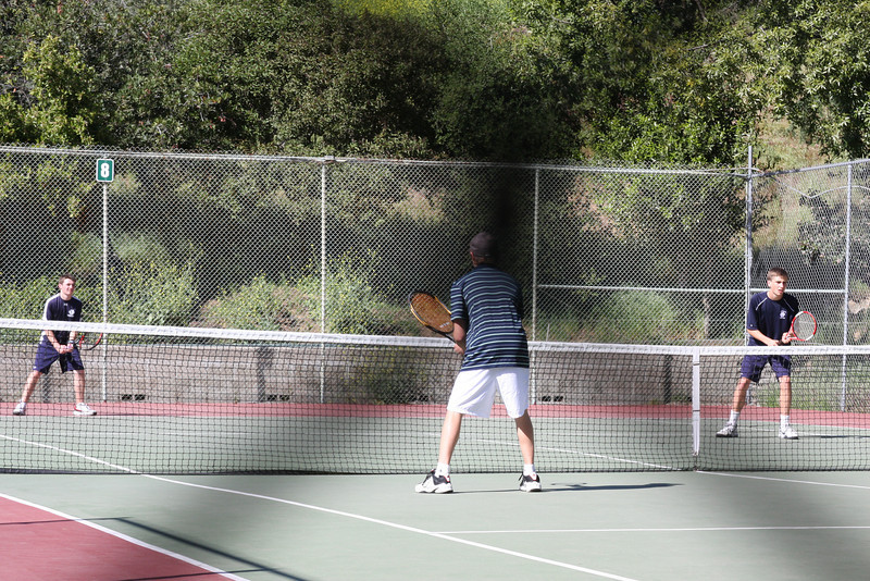 Doubles Dream Team Vincent and Griffin ready to win point and game against Crespi.  Photo by Peter Arnold.