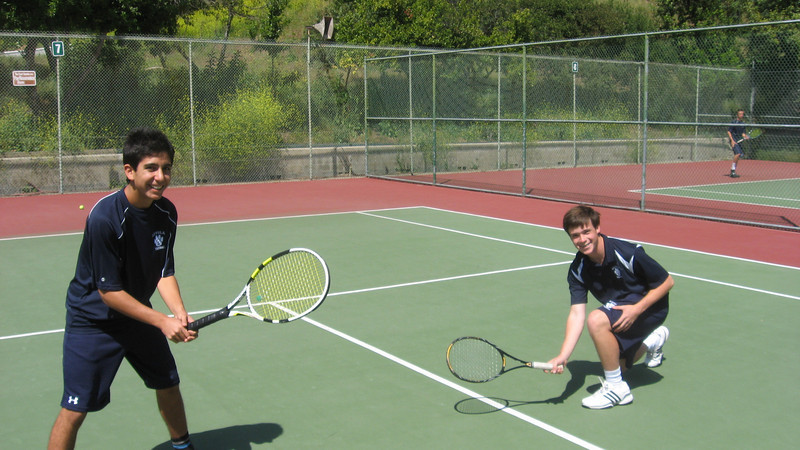Michael K and Shea M strike a typical doubles pose before match versus Crespi on 4/14/2011