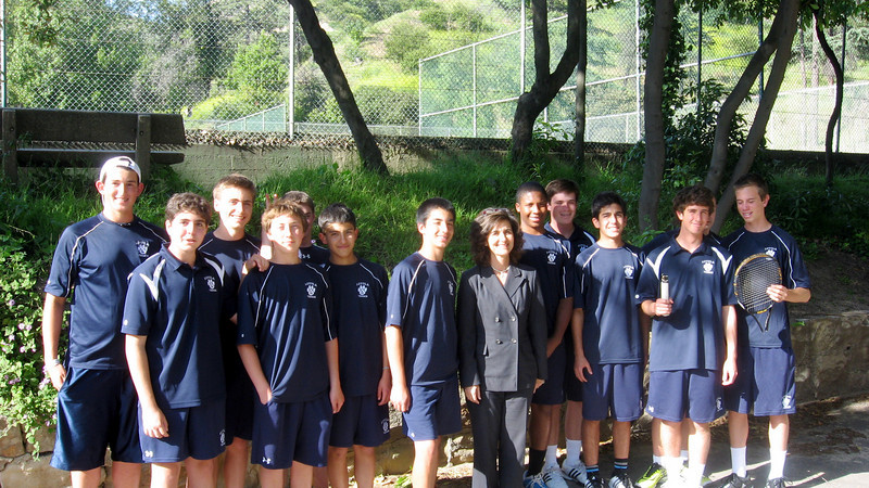 LHS JV tennis team with Team Mom, Mrs. M