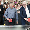 Chapter 19, TA19.17 / New photo of Warren Buffett. (These all all from the last 6 months)<br /> <br /> Choice 3 of 10<br /> <br /> Warren Buffett, chairman of Berkshire Hathaway Inc., right, and Bill Gates, chairman of Microsoft Corp., play table tennis during an event at the annual shareholders meeting in Omaha, Nebraska, U.S., on Sunday, May 6, 2012. Berkshire Hathaway Inc. investment managers Todd Combs and Ted Weschler receive $1 million salaries and can earn more if their bets beat the Standard & Poor's 500 Index, Buffett said Sunday. Photographer: Daniel Acker/Bloomberg via Getty Images