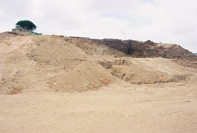 May 28, 2005. Cutting into hill for foundation.