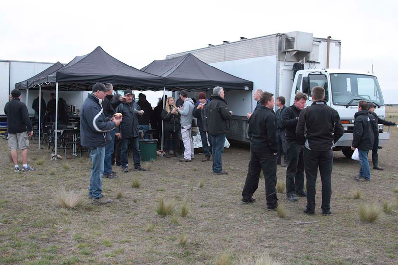 Breakfast 0630hrs Friday at Lake Bathurst. Rick Bates on right with several precision drivers. Blonde lass in centre is Ingrid Kleinig.